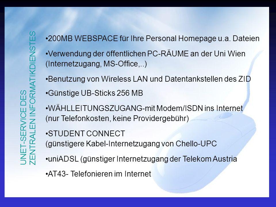 UNET-SERVICE DES ZENTRALEN INFORMATIKDIENSTES 200MB WEBSPACE für Ihre Personal Homepage u.a.