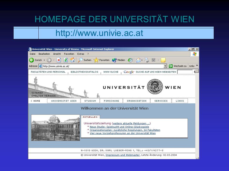 HOMEPAGE DER UNIVERSITÄT WIEN http://www.univie.ac.at