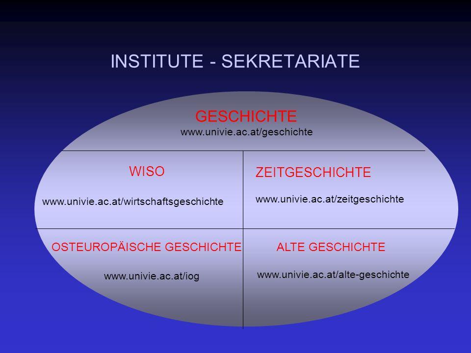 INSTITUTE - SEKRETARIATE WISO www.univie.ac.at/wirtschaftsgeschichte ZEITGESCHICHTE www.univie.ac.at/zeitgeschichte OSTEUROPÄISCHE GESCHICHTE www.univie.ac.at/iog ALTE GESCHICHTE www.univie.ac.at/alte-geschichte GESCHICHTE www.univie.ac.at/geschichte