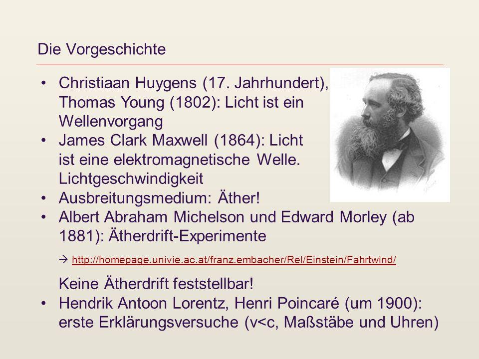 Die Vorgeschichte Christiaan Huygens (17. Jahrhundert), Thomas Young (1802): Licht ist ein Wellenvorgang James Clark Maxwell (1864): Licht ist eine el