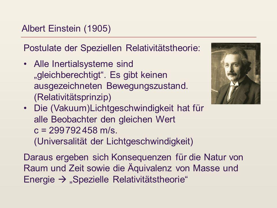 Albert Einstein (1905) Postulate der Speziellen Relativitätstheorie: Alle Inertialsysteme sind gleichberechtigt. Es gibt keinen ausgezeichneten Bewegu