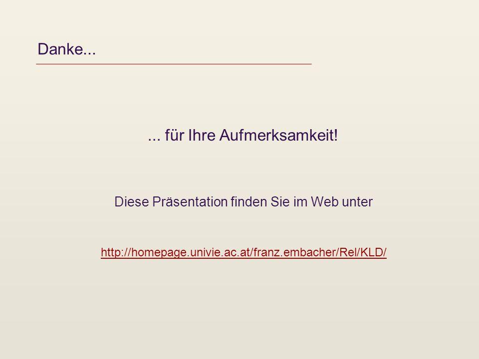 Danke...... für Ihre Aufmerksamkeit! Diese Präsentation finden Sie im Web unter http://homepage.univie.ac.at/franz.embacher/Rel/KLD/