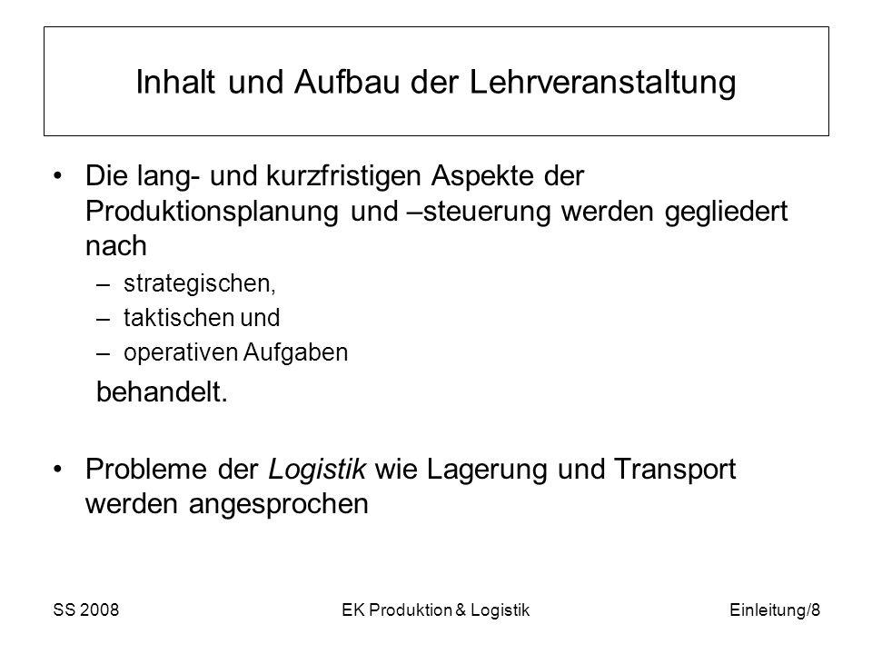 SS 2008EK Produktion & LogistikEinleitung/9 Literatur Vorlesungsbegleitend muss folgendes Lehrbuch gelesen werden: Günther, H.O., Tempelmeier, H.: Produktion und Logistik , 2.
