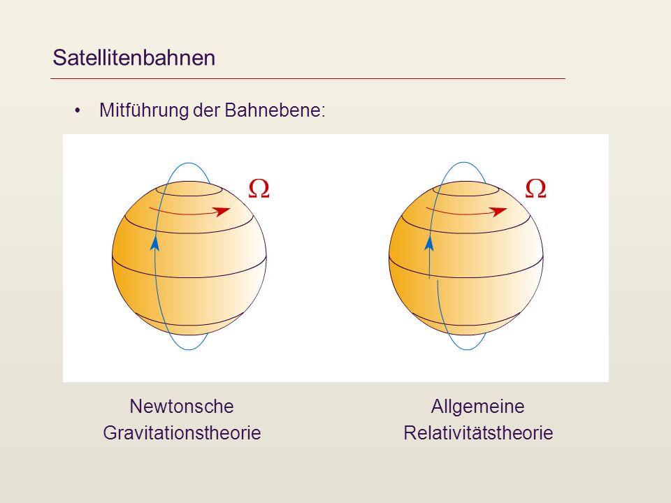 Satellitenbahnen Mitführung der Bahnebene: Newtonsche Gravitationstheorie Allgemeine Relativitätstheorie