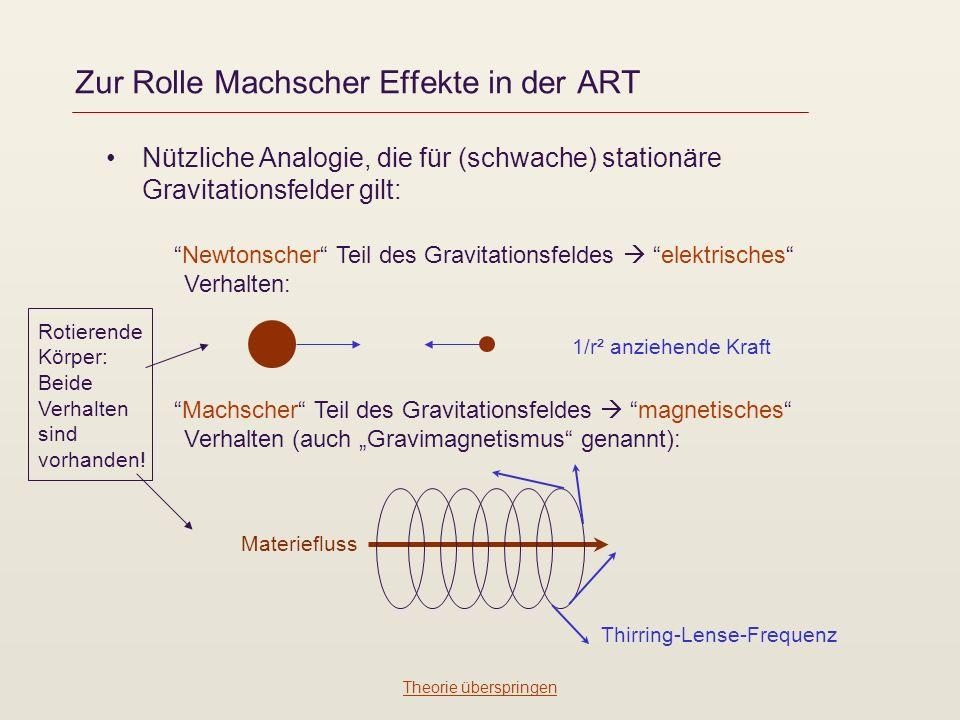 Zur Rolle Machscher Effekte in der ART Nützliche Analogie, die für (schwache) stationäre Gravitationsfelder gilt: Newtonscher Teil des Gravitationsfeldes elektrisches Verhalten: Machscher Teil des Gravitationsfeldes magnetisches Verhalten (auch Gravimagnetismus genannt): 1/r² anziehende Kraft Materiefluss Thirring-Lense-Frequenz Rotierende Körper: Beide Verhalten sind vorhanden.