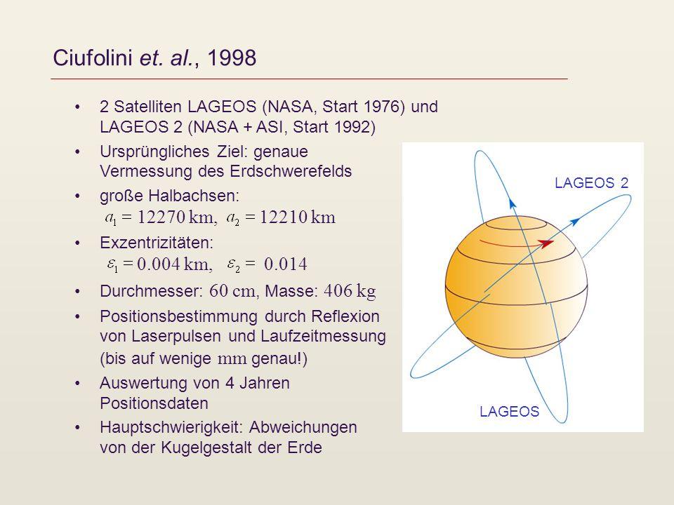 Ciufolini et. al., 1998 2 Satelliten LAGEOS (NASA, Start 1976) und LAGEOS 2 (NASA + ASI, Start 1992) Ursprüngliches Ziel: genaue Vermessung des Erdsch