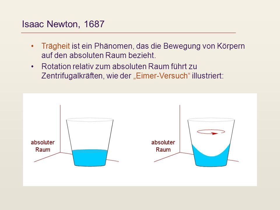 Isaac Newton, 1687 Trägheit ist ein Phänomen, das die Bewegung von Körpern auf den absoluten Raum bezieht. Rotation relativ zum absoluten Raum führt z