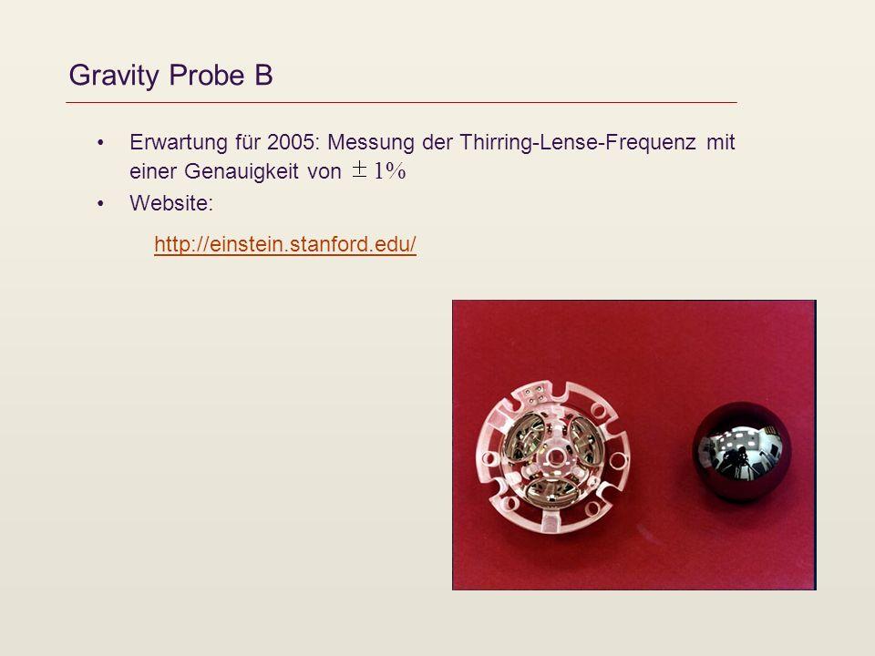 Gravity Probe B Erwartung für 2005: Messung der Thirring-Lense-Frequenz mit einer Genauigkeit von 1% Website: http://einstein.stanford.edu/http://einstein.stanford.edu/