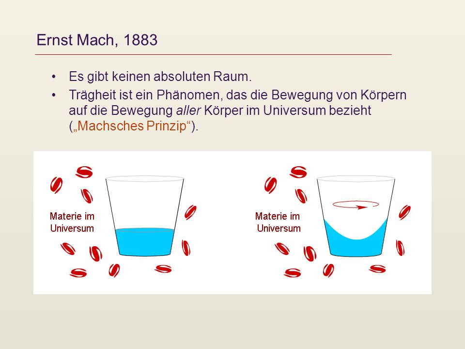 Ernst Mach, 1883 Es gibt keinen absoluten Raum. Trägheit ist ein Phänomen, das die Bewegung von Körpern auf die Bewegung aller Körper im Universum bez