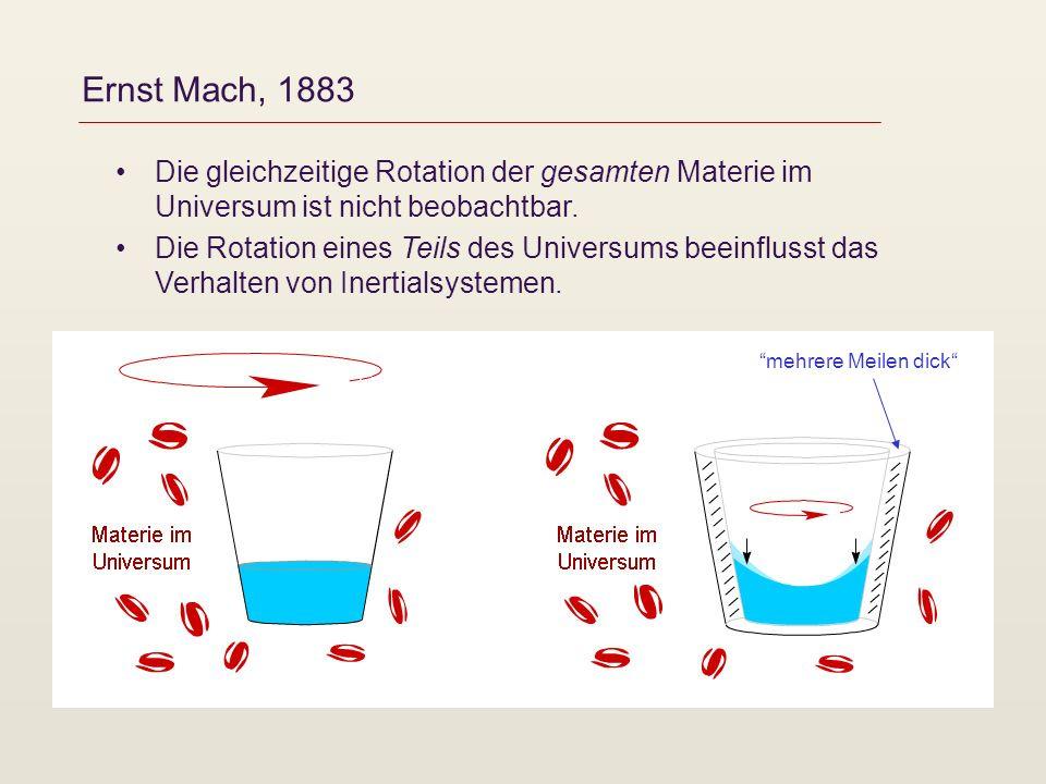 Ernst Mach, 1883 Die gleichzeitige Rotation der gesamten Materie im Universum ist nicht beobachtbar. Die Rotation eines Teils des Universums beeinflus