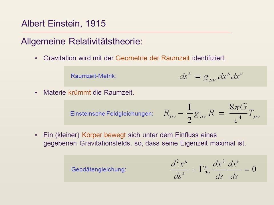Albert Einstein, 1915 Allgemeine Relativitätstheorie: Gravitation wird mit der Geometrie der Raumzeit identifiziert. Materie krümmt die Raumzeit. Ein