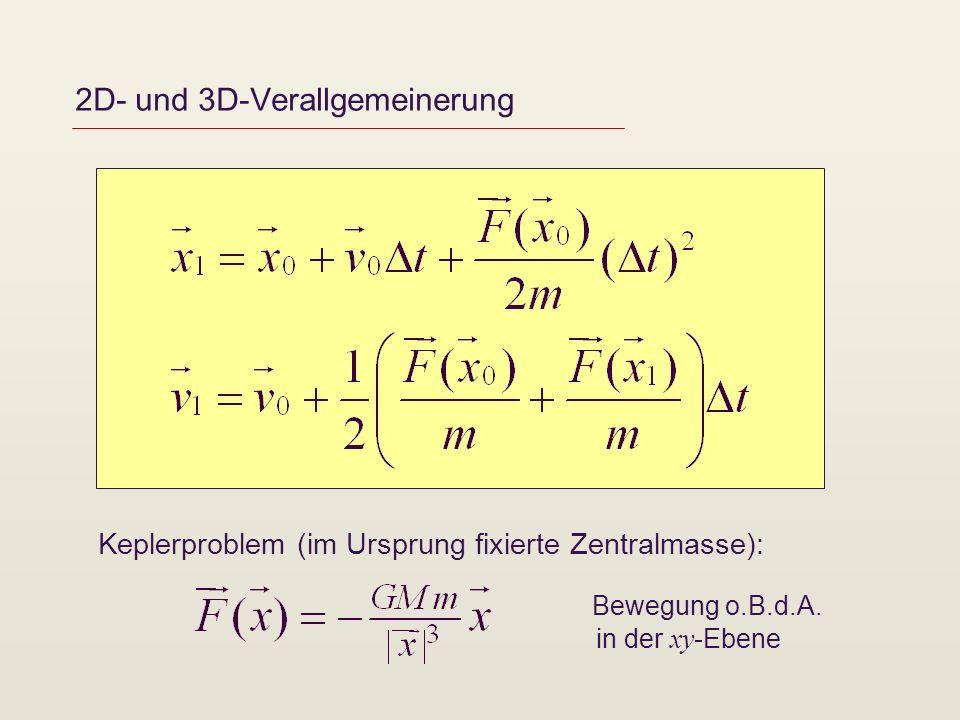 2D- und 3D-Verallgemeinerung Keplerproblem (im Ursprung fixierte Zentralmasse): Bewegung o.B.d.A.