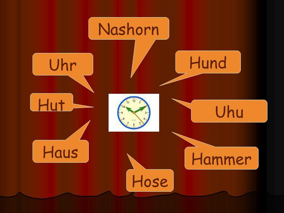 Hund Hammer Nashorn Uhr Haus Hose Uhu Hut