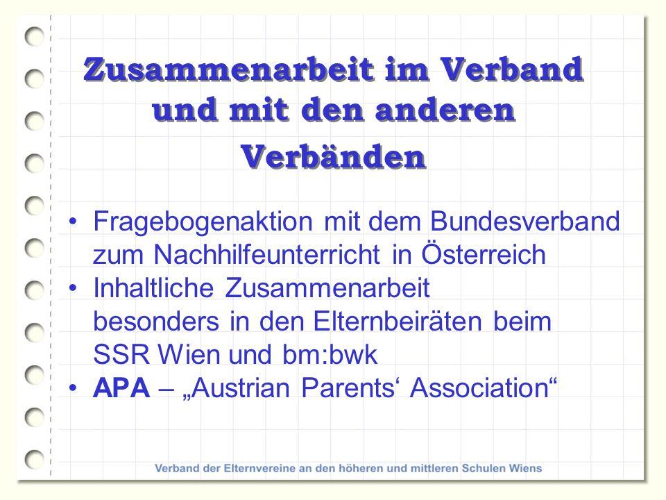Zusammenarbeit im Verband und mit den anderen Verbänden Fragebogenaktion mit dem Bundesverband zum Nachhilfeunterricht in Österreich Inhaltliche Zusam