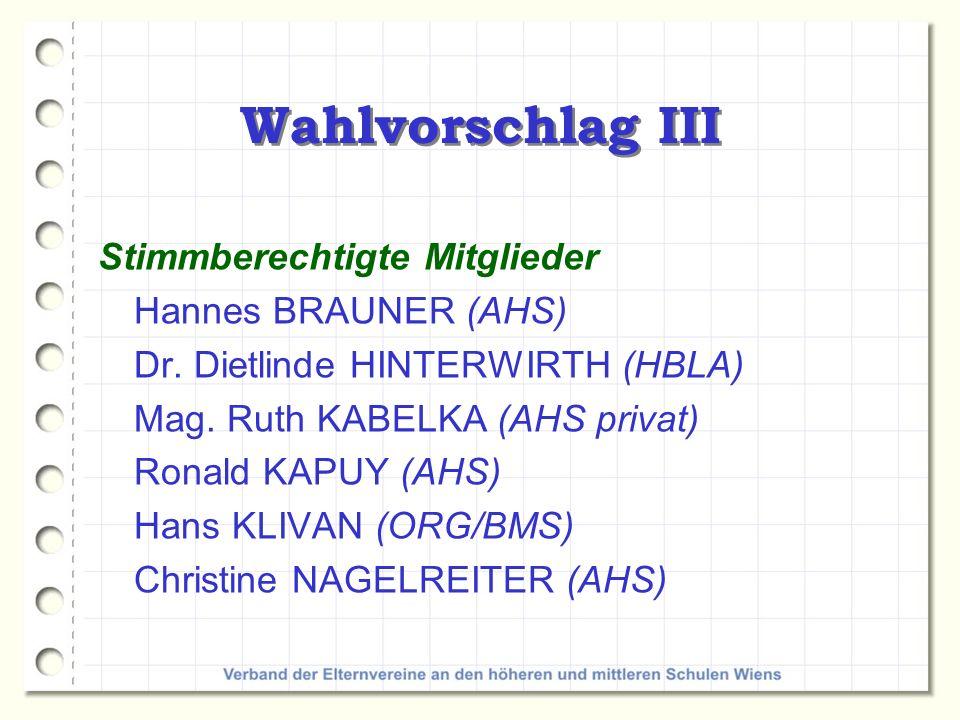 Wahlvorschlag III Stimmberechtigte Mitglieder Hannes BRAUNER (AHS) Dr. Dietlinde HINTERWIRTH (HBLA) Mag. Ruth KABELKA (AHS privat) Ronald KAPUY (AHS)
