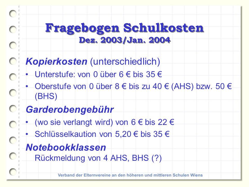 Fragebogen Schulkosten Dez. 2003/Jan. 2004 Kopierkosten (unterschiedlich) Unterstufe: von 0 über 6 bis 35 Oberstufe von 0 über 8 bis zu 40 (AHS) bzw.