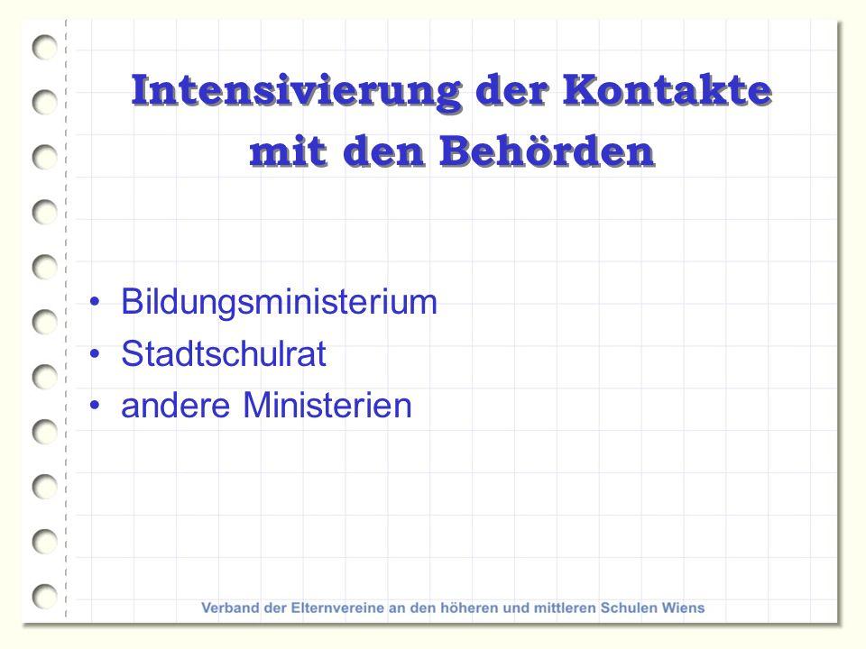 Intensivierung der Kontakte mit den Behörden Bildungsministerium Stadtschulrat andere Ministerien