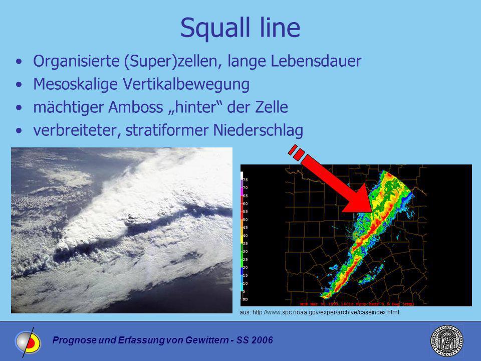 Prognose und Erfassung von Gewittern - SS 2006 Squall line Organisierte (Super)zellen, lange Lebensdauer Mesoskalige Vertikalbewegung mächtiger Amboss