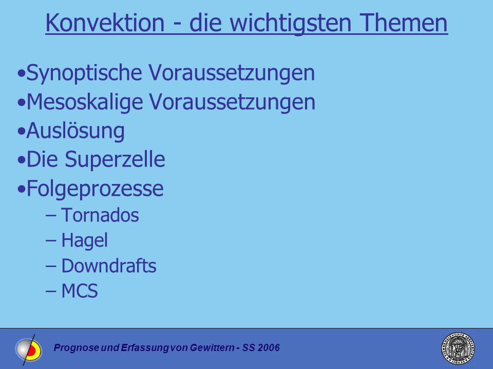 Prognose und Erfassung von Gewittern - SS 2006 Konvektion - die wichtigsten Themen Synoptische Voraussetzungen Mesoskalige Voraussetzungen Auslösung D