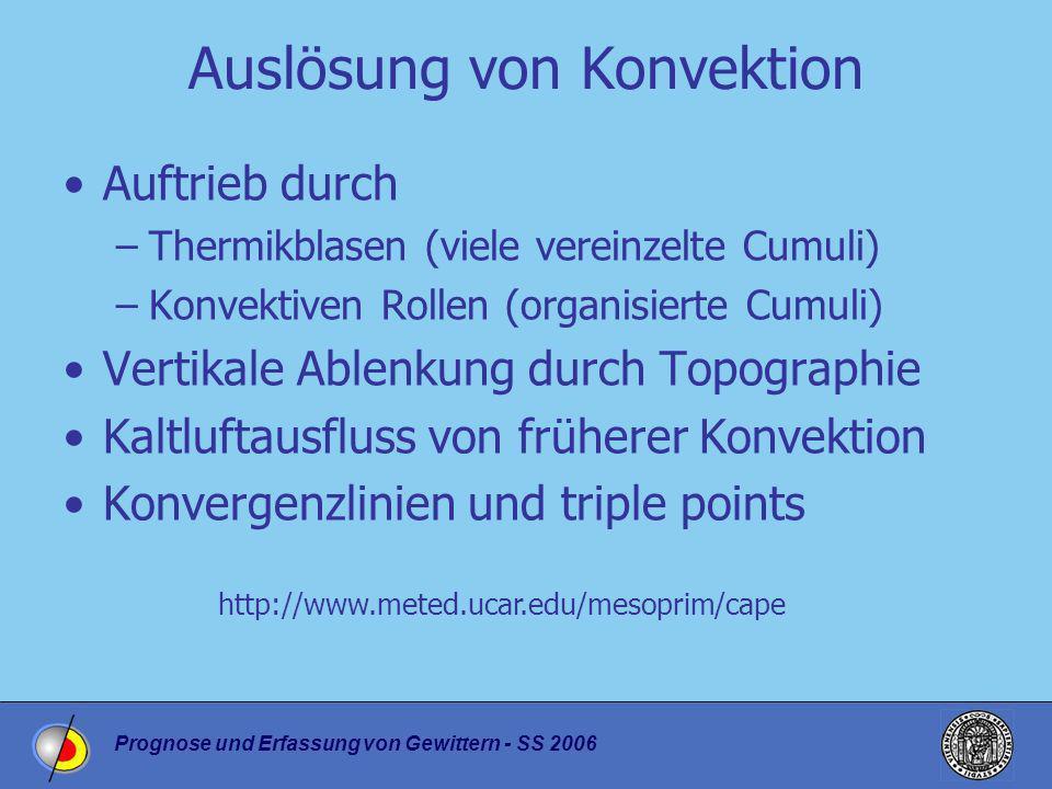 Prognose und Erfassung von Gewittern - SS 2006 Auslösung von Konvektion Auftrieb durch –Thermikblasen (viele vereinzelte Cumuli) –Konvektiven Rollen (