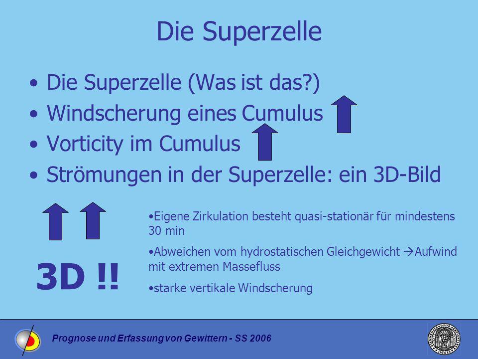 Prognose und Erfassung von Gewittern - SS 2006 Die Superzelle Die Superzelle (Was ist das?) Windscherung eines Cumulus Vorticity im Cumulus Strömungen