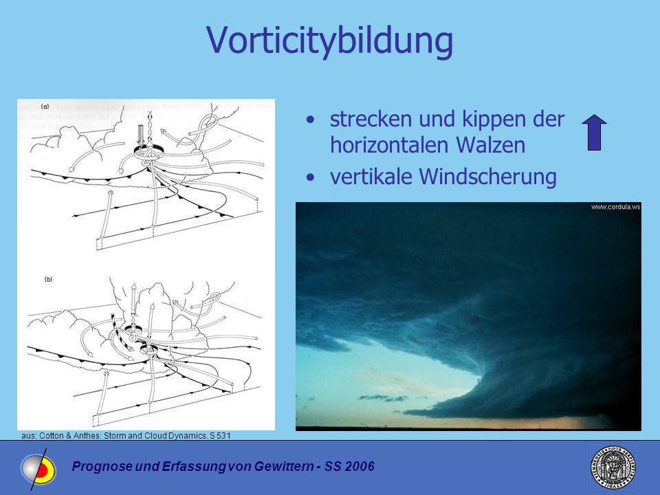 Prognose und Erfassung von Gewittern - SS 2006 Vorticitybildung strecken und kippen der horizontalen Walzen vertikale Windscherung aus: Cotton & Anthe