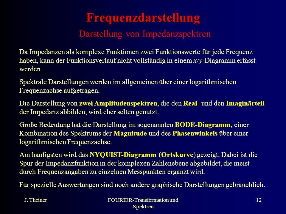 J. TheinerFOURIER-Transformation und Spektren 12 Frequenzdarstellung Frequenzdarstellung Darstellung von Impedanzspektren Da Impedanzen als komplexe F