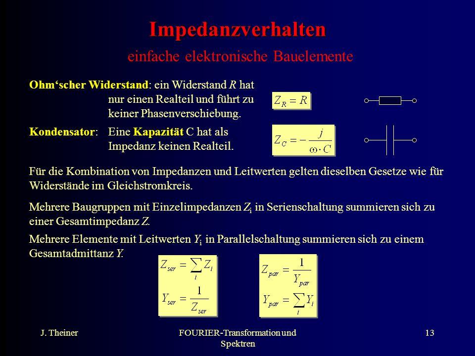 J. TheinerFOURIER-Transformation und Spektren 13 Impedanzverhalten Impedanzverhalten einfache elektronische Bauelemente Ohmscher Widerstand: ein Wider