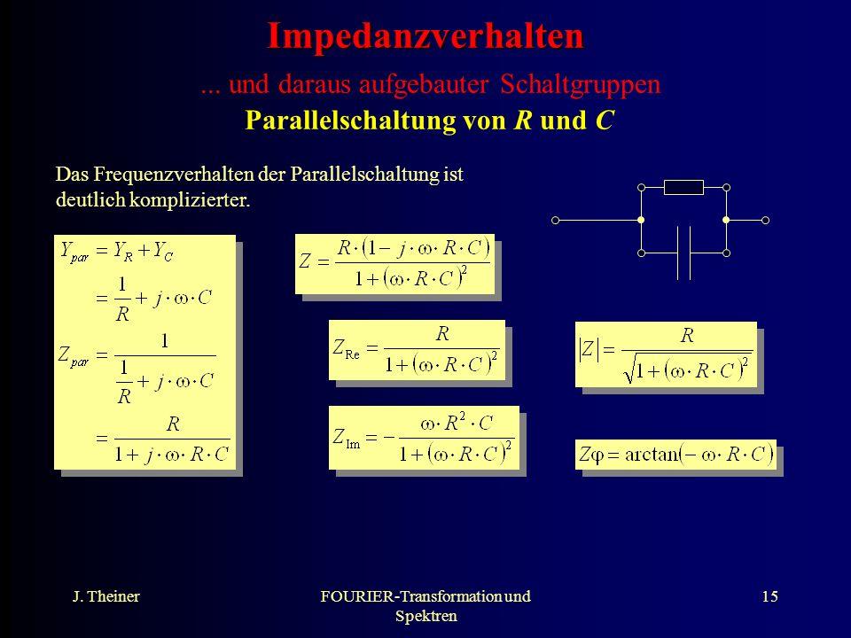 J. TheinerFOURIER-Transformation und Spektren 15 Impedanzverhalten Impedanzverhalten... und daraus aufgebauter Schaltgruppen Parallelschaltung von R u