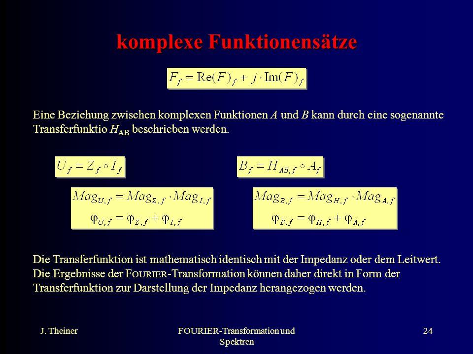 J. TheinerFOURIER-Transformation und Spektren 24 komplexe Funktionensätze Eine Beziehung zwischen komplexen Funktionen A und B kann durch eine sogenan