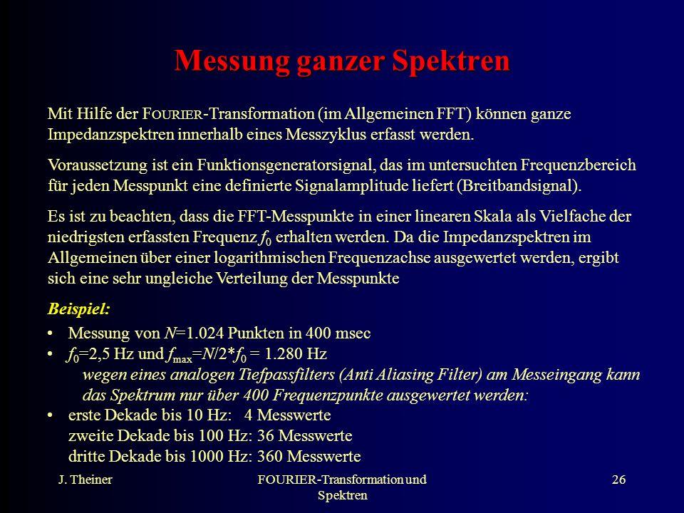 J. TheinerFOURIER-Transformation und Spektren 26 Messung ganzer Spektren Mit Hilfe der F OURIER -Transformation (im Allgemeinen FFT) können ganze Impe