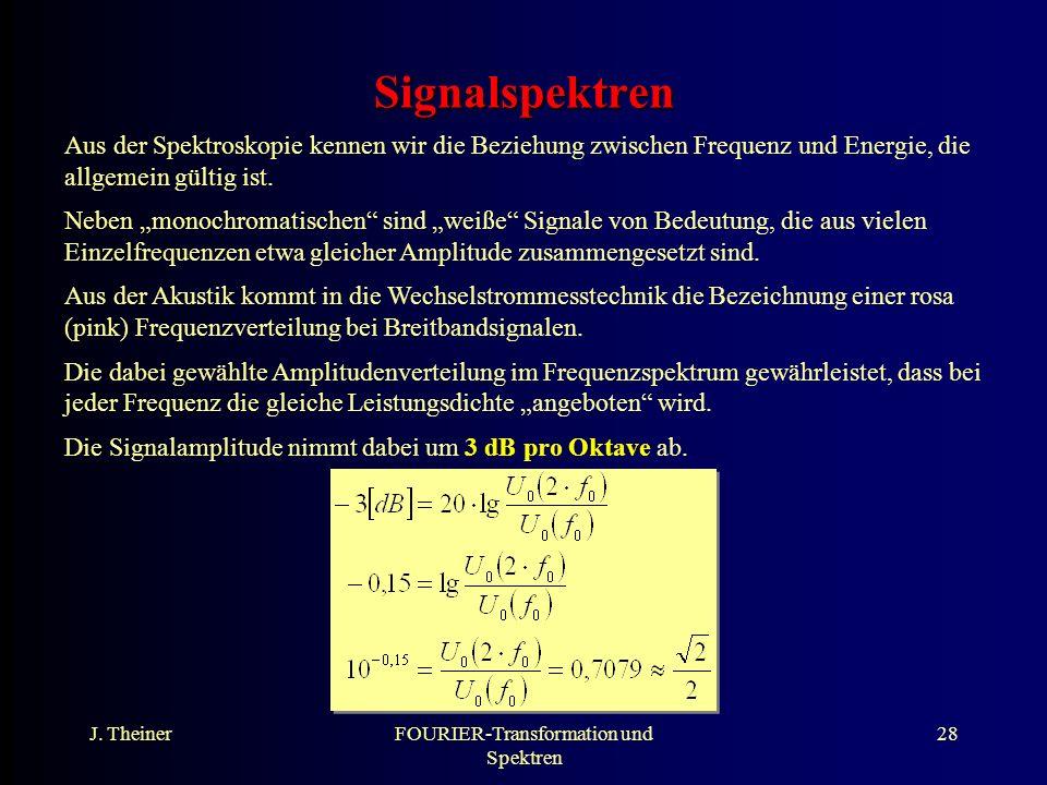 J. TheinerFOURIER-Transformation und Spektren 28 Signalspektren Aus der Spektroskopie kennen wir die Beziehung zwischen Frequenz und Energie, die allg