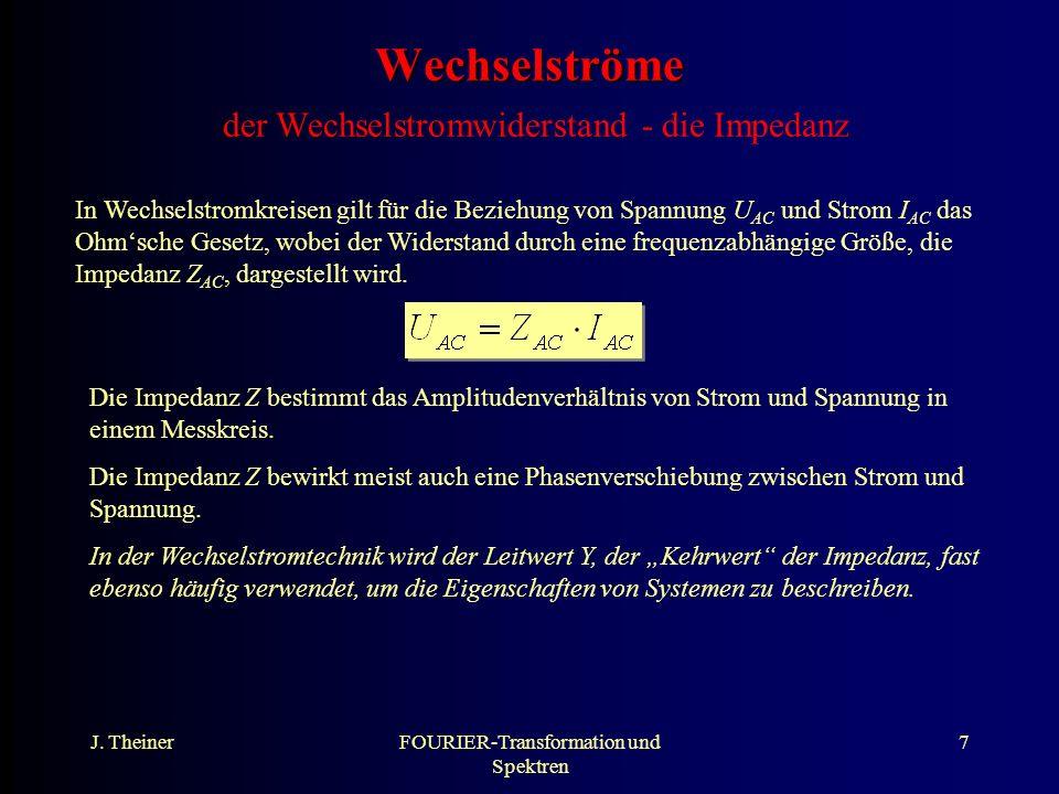 J.TheinerFOURIER-Transformation und Spektren 18 Messtechnik direkte Aufzeichnung von U vs.