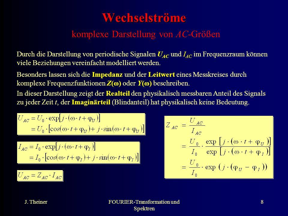 J. TheinerFOURIER-Transformation und Spektren 8 Wechselströme Wechselströme komplexe Darstellung von AC-Größen Durch die Darstellung von periodische S
