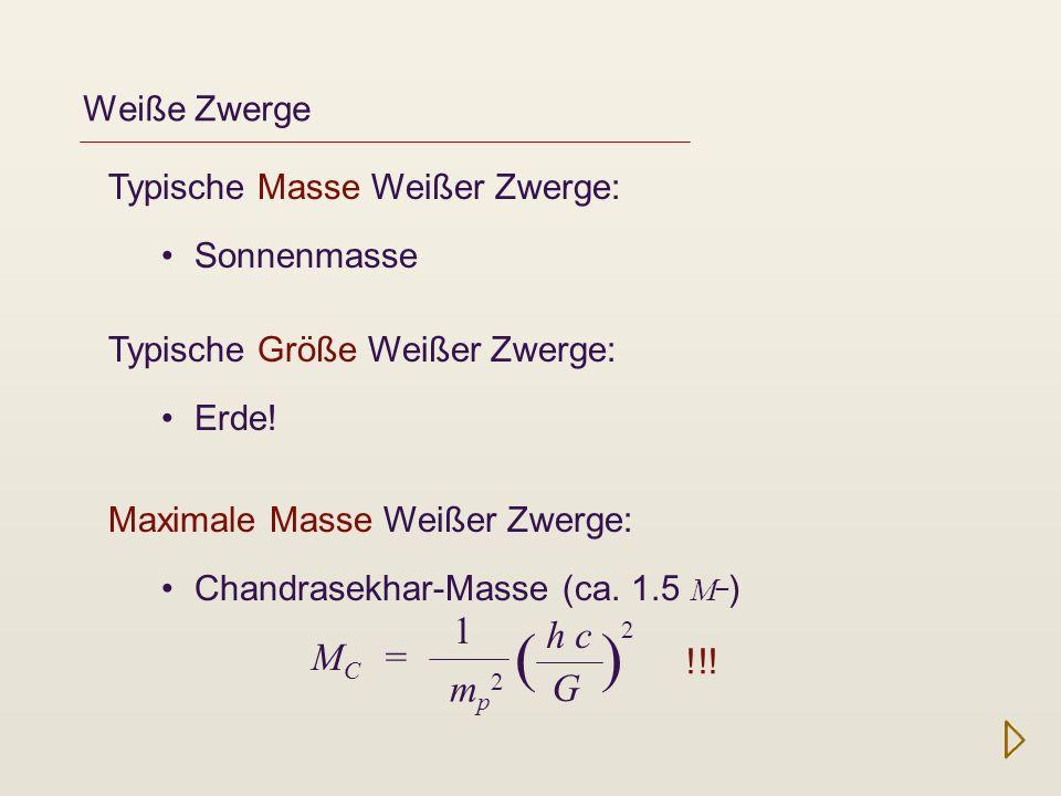Weiße Zwerge Typische Masse Weißer Zwerge: Sonnenmasse Typische Größe Weißer Zwerge: Erde! Maximale Masse Weißer Zwerge: Chandrasekhar-Masse (ca. 1.5