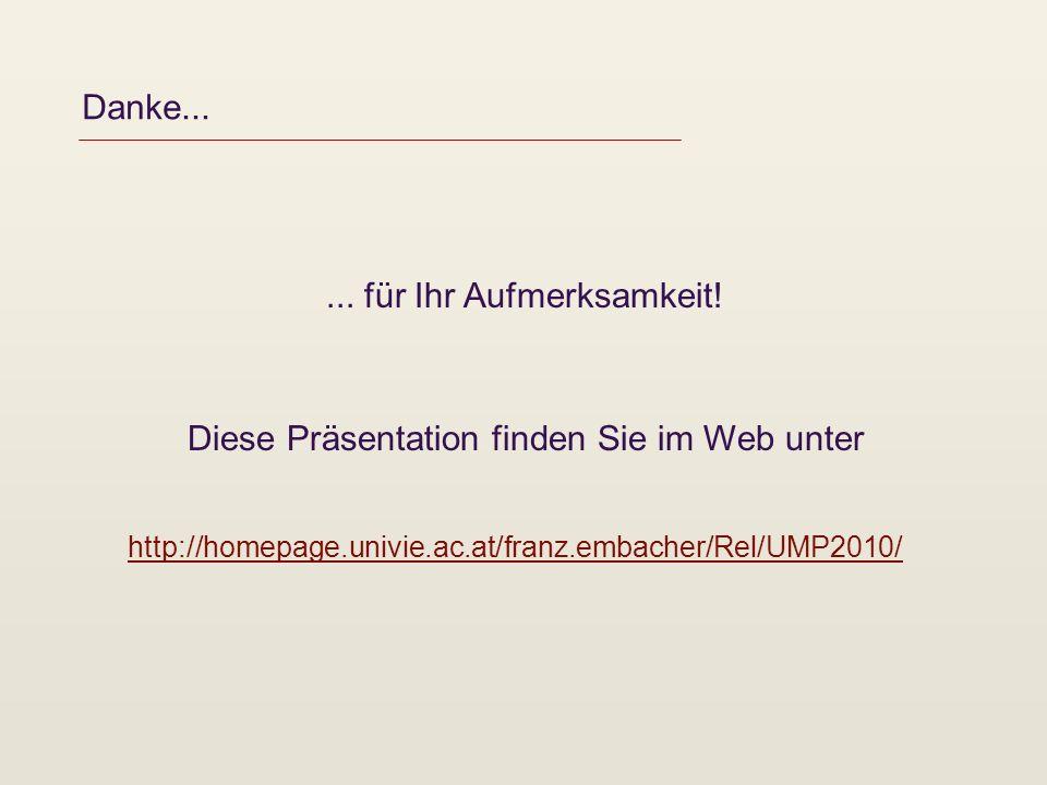 Danke...... für Ihr Aufmerksamkeit! Diese Präsentation finden Sie im Web unter http://homepage.univie.ac.at/franz.embacher/Rel/UMP2010/