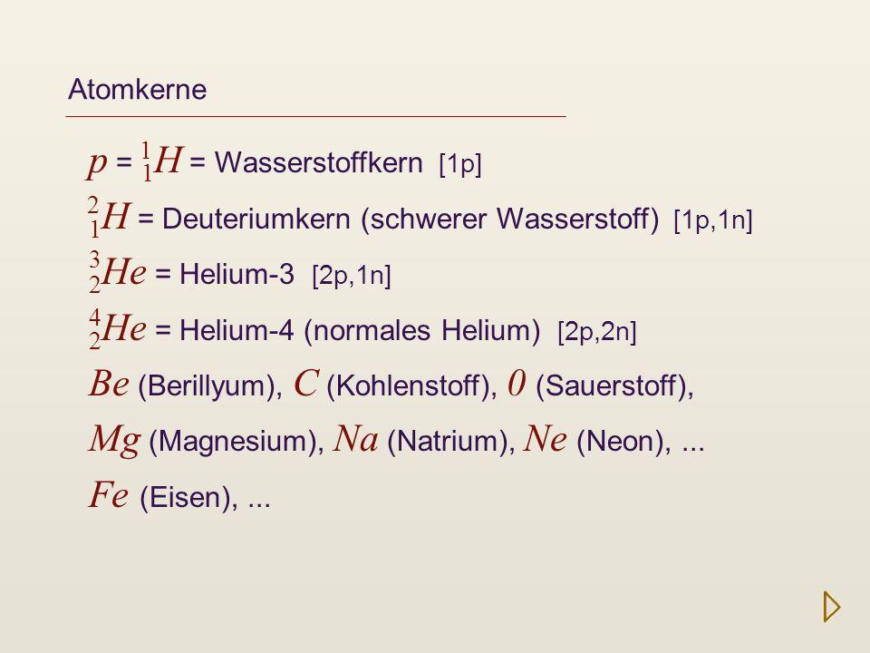 Kernfusion Atomkerne entstehen in Kernfusions-Prozessen: ab T = 600 000 K Deuteriumbrennen: 1 H + 1 H 2 He [1p,1n] + [1p] [2p,1n] ab T = 3 Mio K Wasserstoffbrennen: H He (vereinfacht) ab T = 200 Mio K Heliumbrennen: He Be C (vereinfacht, 3-Alpha-Prozess) ab T = 800 Mio K Kohlenstoffbrennen: C O, Mg, Na, Ne danach Neonbrennen, Sauerstoffbrennen, Siliziumbrennen, Fusion von Elementen bis zum Eisen.