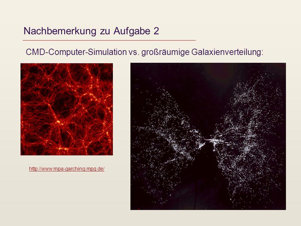 Nachbemerkung zu Aufgabe 2 CMD-Computer-Simulation vs. großräumige Galaxienverteilung: http://www.mpa-garching.mpg.de/