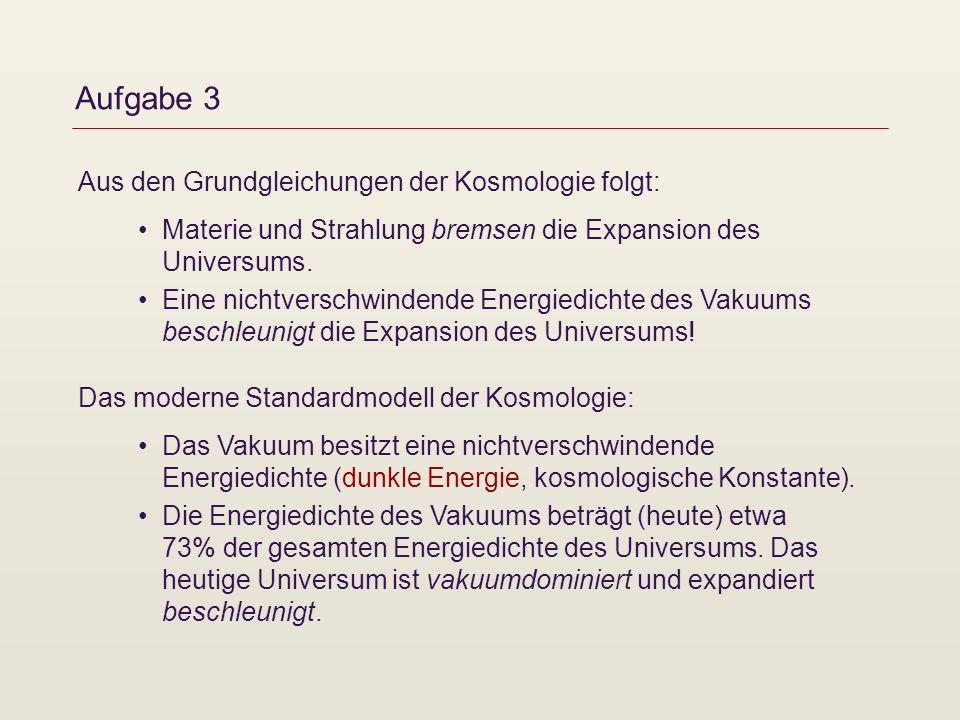 Aufgabe 3 Das moderne Standardmodell der Kosmologie: Das Vakuum besitzt eine nichtverschwindende Energiedichte (dunkle Energie, kosmologische Konstant