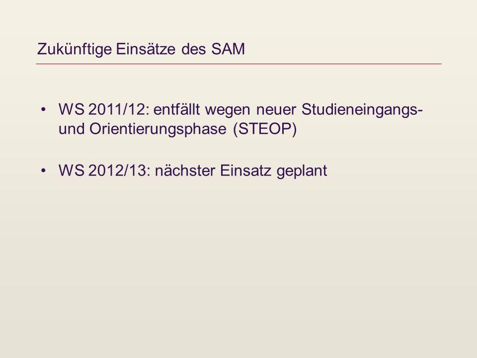 Zukünftige Einsätze des SAM WS 2011/12: entfällt wegen neuer Studieneingangs- und Orientierungsphase (STEOP) WS 2012/13: nächster Einsatz geplant