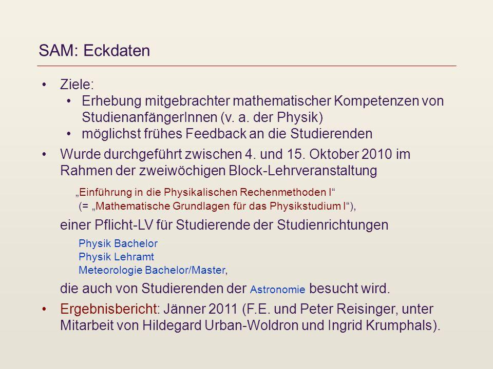SAM: Eckdaten Ziele: Erhebung mitgebrachter mathematischer Kompetenzen von StudienanfängerInnen (v.