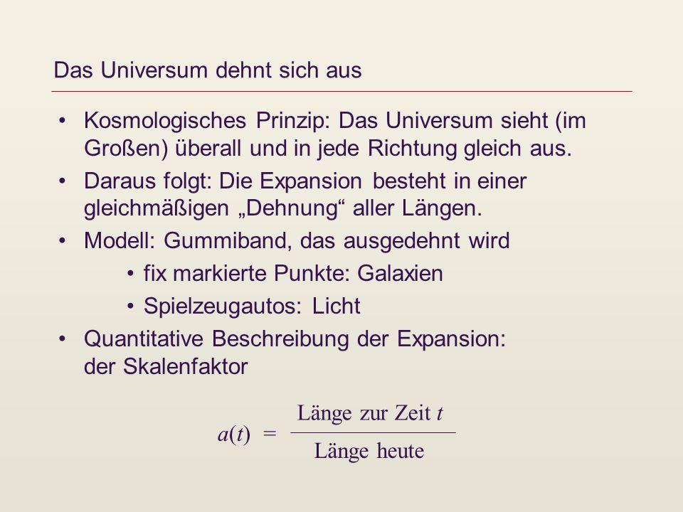 Das Universum dehnt sich aus Kosmologisches Prinzip: Das Universum sieht (im Großen) überall und in jede Richtung gleich aus. Daraus folgt: Die Expans