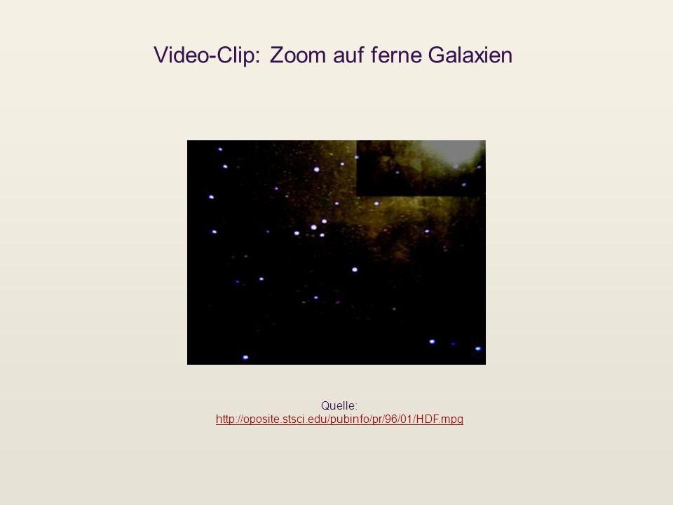 Video-Clip: Zoom auf ferne Galaxien Quelle: http://oposite.stsci.edu/pubinfo/pr/96/01/HDF.mpg