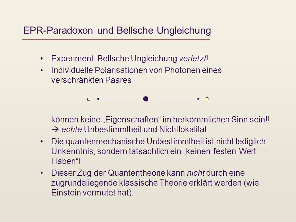 EPR-Paradoxon und Bellsche Ungleichung Experiment: Bellsche Ungleichung verletzt! Individuelle Polarisationen von Photonen eines verschränkten Paares