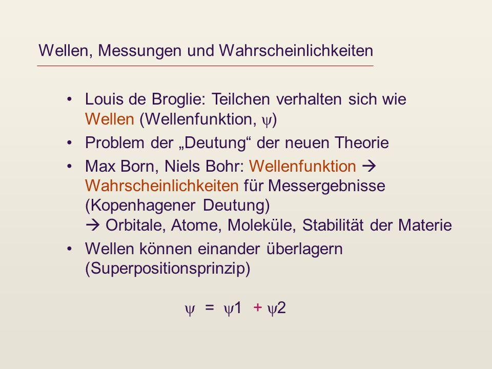 Wellen, Messungen und Wahrscheinlichkeiten Louis de Broglie: Teilchen verhalten sich wie Wellen (Wellenfunktion, ) Problem der Deutung der neuen Theor