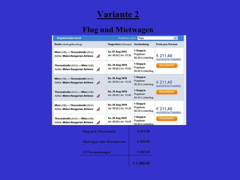 Variante 2 Flug und Mietwagen Flug nach Thessaloniki 211,40 Mietwagen ohne Benzinkosten 458,00 20 Übernachtungen 800,00 1.469,40