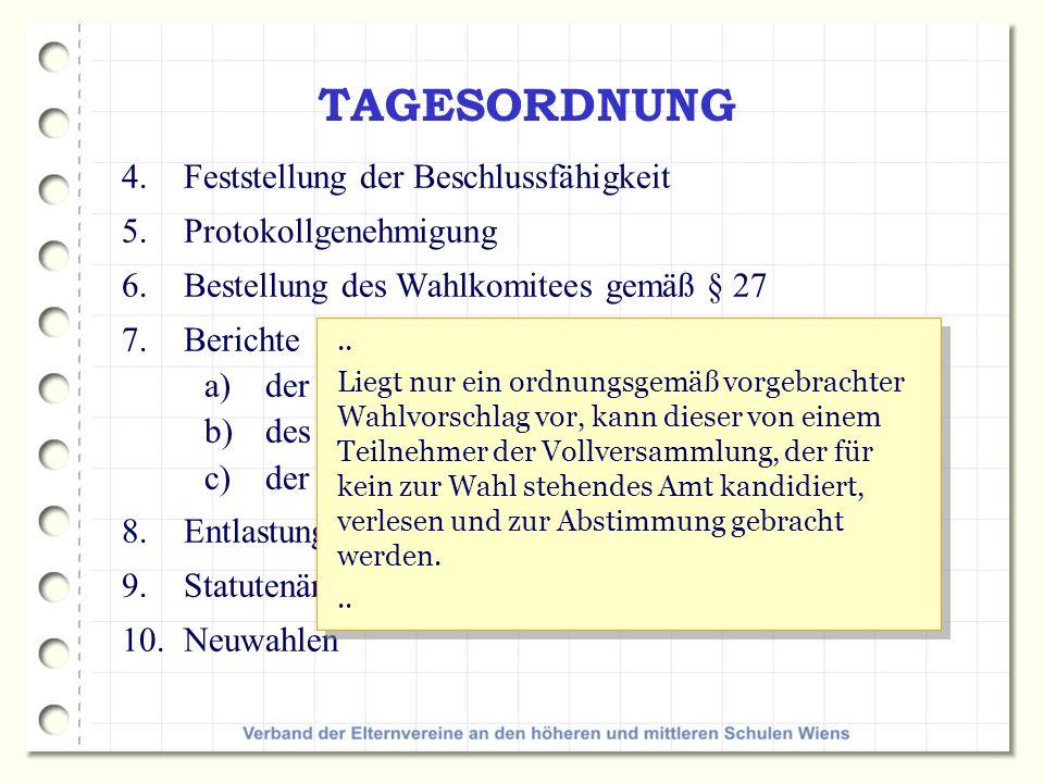 TAGESORDNUNG 4.Feststellung der Beschlussfähigkeit 5.Protokollgenehmigung 6.Bestellung des Wahlkomitees gemäß § 27 7.Berichte a)der Vorsitzenden, b)des Kassiers c)der Rechnungsprüfer/innen 8.Entlastung des Kassiers und des gesamten Vorstandes 9.Statutenänderung (Anpassung an das Vereinsgesetz) 10.Neuwahlen..
