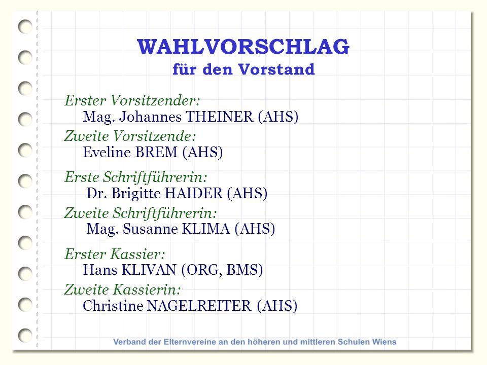 WAHLVORSCHLAG für den Vorstand Erster Vorsitzender: Mag.
