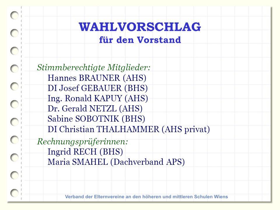 Stimmberechtigte Mitglieder: Hannes BRAUNER (AHS) DI Josef GEBAUER (BHS) Ing.