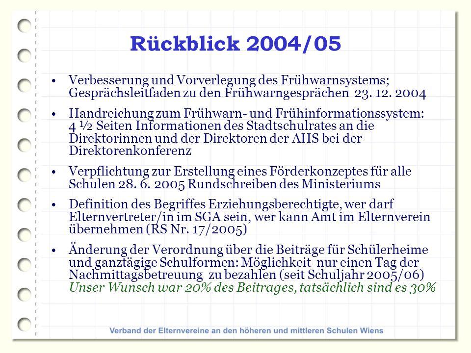 Rückblick 2004/05 Verbesserung und Vorverlegung des Frühwarnsystems; Gesprächsleitfaden zu den Frühwarngesprächen 23.